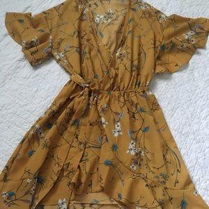Dresses & Skirts - Yellow floral wrap around dress